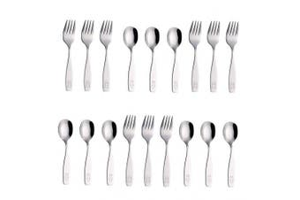 (WF850-S18FS) - Exzact Stainless Steel 18 Pieces Childrens Flatware/Kids Silverware/Cutlery Set - 9 x Children Forks, 9 x Children Dinner Spoons - Safe Toddler Utensils (Engraved Dog Bunny)(WF850-S18FS)