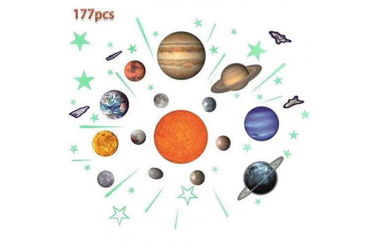 Glow Planets And Stars Bright Solar System Wall Stickers Sun Earth Mars And So On Glowing Ceiling Decals For Bedroom Living Room Shining Space Decoration For Kids For Girls And Boys Matt Blatt