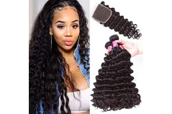 (12 14 16+25cm Closure) - Brazilian Deep Wave Human Hair Bundle with Closure Unprocessed Virgin Human Hair Deep Curly Bundles with Lace Closure Free Part Natural Colour(12 14 16+10Closure)