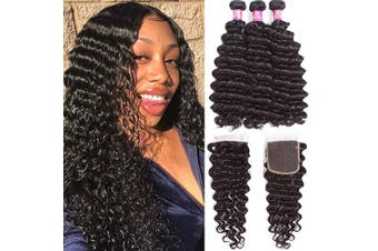 (20 22 24+46cm Closure) - Brazilian Deep Wave Human Hair Bundle with Closure Unprocessed Virgin Human Hair Deep Curly Bundles with Lace Closure Free Part Natural Colour(202224+18Closure)