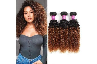 """(20 22 24) - Alisfeel Ombre Curly Bundles Brazilian Curly Hair Wet and Wavy Human Hair Weave 3bundles Kinky Curly 1b/30 Black to Brown (20""""22""""24"""")"""