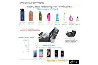 (Without Bottle Hydration Belt(BK)) - AiRunTech Upgraded No Bounce Hydration Belt Can be Cut to Size Design Strap for Any Hips for Men Women Running Belt with Water Bottle Holder with Large Pocket Fits Most Smartphones