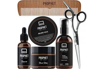 PROPHET AND TOOLS Premium Gold Beard Grooming Essentials Packed with Beard Growth Oil, Beard Balm, Moustache Wax, Beard Shampoo & Conditioner, Sharp Scissors, and wooden comb - Best Kit for Men