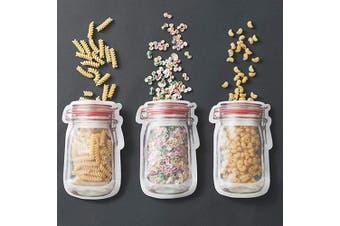 Topeedy Mason Bottle Shape Clip Chain Ziplock Bag Food Storage Bag,Food Storage Snack Sandwich Ziplock Bags,Reusable Airtight Seal Food Storage Bags,Leakproof Food Saver Bags