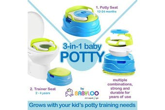 (Blue) - Babyloo Bambino Potty 3-in-1 Multi-Functional Children's Toilet Training Seat - 3 Convertible Stages for 6 Months and up (Blue)