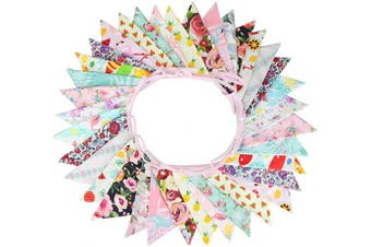 (Flamingo) - G2PLUS Large Fabric Bunting Banner, 10m Triangle Flag Garland 36PCS Floral Pennants, Double Sided Vintage Cloth Shabby Chic Decoration Wedding Birthday Parties (Flamingo)