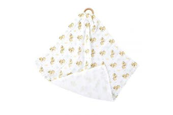 Puppy Classic White 15 x 15 Bamboo and Cotton Fabric Mini Swaddling Blanket