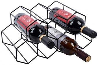 (Black) - Wine Rack Wine Storage Holder 7 Bottle Wine Holder Rack Stand Space Saver Protector Countertop Free Stand Wine Rack for Red & White Wines (7 Bottles Metal Wine Rack Black)