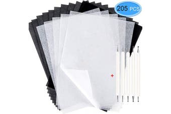 200Pcs Tracing Paper, EAONE Transfer Tracing Paper and Carbon Graphite Paper with 5Pcs Embossing Stylus for Wood Burning Transfer, Wood Carving and Tracing, Black and White