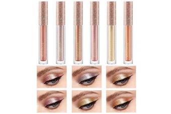 Glitter Liquid Eyeliner, Coosa 6 Colours Waterproof Shimmer High Pigmented Lasting Sparkling Colourful Eyeliner Eye Shadow