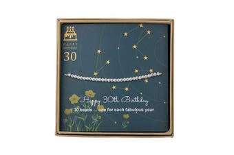 30th Birthday Gifts for Women - Sterling Silver Bead Bracelet for 30th Birthday Gift, Adjustable Jewellery 18cm - 23cm Cord