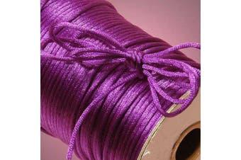 (Purple) - Ben Collection 2mm X 100 Yard Rattail Satin Nylon Trim Cord Chinese Knot (Purple)