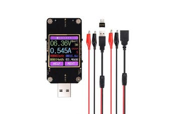 eSynic USB Tester Multifunctional Bluetooth Digital USB Safety Tester Support Type-C Micro USB USB-A with Colour LED Screen for Voltmeter, Ammeter, Capacity Metre ect - With Crocodile Clip Line