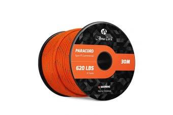 (Reflective Orange) - Abma Cord 550 Paracord 9 Inner Strands Type III Nylon Parachute Cord - 280kg Breaking Strength