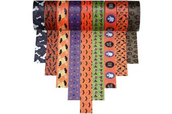 9 Rolls Halloween Washi Tape with Patterns of Star, Bat, Ghost, Pumpkin, Fat Eggplant and Bones for Halloween and Other Festivals DIY Decoration