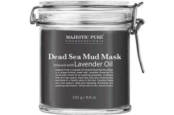 MAJESTIC PURE Dead Sea Mud Mask with Lavender Oil - Natural Face and Skin Care - Helps Reducing Pores, Acne and Blackheads - Soothing, Therapeutic, and Nourishing, 260ml