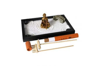 (US-SP-001) - BangBangDa Tabletop Meditation Zen Garden - Japanese Miniature Rock Sand Zen Garden for Desk - Office Zen Gifts Include Kits Tools Accessories Sand Rocks Stamp Rake Koi Fishes Lantern (US-SP-001)