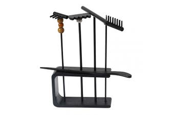 (Black Rakes Set) - BangBangDa Mini Zen Garden Rake - Sand Zen Garden Tools - Tabletop Zen Garden Accessories Set of 6