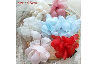 (f10) - 6 pcs White Organza Embroidery 3D Lace Flower Fabric Appliques with Peal Beads Crystal Iron On Patches DIY Decoration for Clothing Backpacks Jeans Caps Shoes Dress Bridal Wedding (f10)