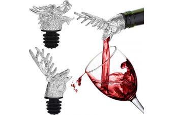 2 Pieces Stainless Steel Wine Pourer Bottle Pourer Wine Aerator Pourer Dragon and Deer Head Shape Wine Bottle Stopper