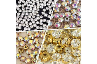 (10mm, Crystal - Gold Bottom) - BLINGINBOX 10mm 100pcs Glass Rhinestone Sew-on Gold Plated Brass Base Prongs Cup with 5 Holes(Crystal - Gold Bottom)