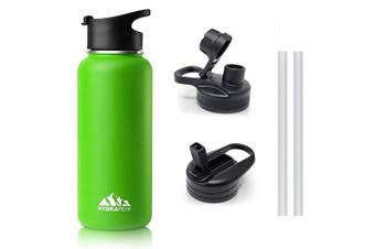 (950ml With Extra Lids, Green) - Hydrapeak Stainless Insulated Water Bottle-950ml, BPA Free Wide Mouth, Double Walled, Flip Lid Handle with Chug and Bite Straw Lids (950ml With Extra Lids, Green)