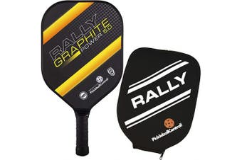 (Yellow - Thin Grip) - Pickleball Paddle - Rally Graphite Power 5.0 | Honeycomb Core, Graphite/Polymer Hybrid Composite Face | Power, Control, Large Sweet Spot | Paddle Cover