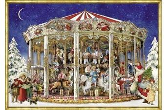 Traditional A4 Card Advent Calendar Deluxe - Nostalgic Victorian Christmas Carousel With Glitter Detail
