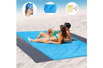 Beach Blanket Sand Camping Mat Waterproof,Outdoor Travel Accessories & Pocket Zippered Portable Family Picnic Mat for Travel, Camping, Hiking and Music Festivals (270cm x 220cm )