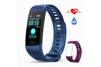 (Blue) - AK1980 Fitness Tracker Watch with Heart Rate Monitor Sleep Monitor Smartwatch Step Tracker Calorie Counter Multi Exercise Modes, IP67 Waterproof Activity Tracker for Kids Women Men