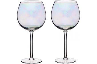 (Gin Glasses) - BarCraft Balloon Gin Glasses, Rainbow-Pearl Iridescent, 500 ml, Set of 2, Gift Boxed