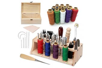 Leather Craft Working Tool Set with Instructions, Leather Carving Tool Stamping Tools with Matting Cut Prong Punch Sewing Tools Needle and Thread for DIY Hand Sewing Leathercraft Working