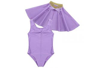 (3-4 Years) - Agoky Girls 2PCS Showman Costume Sleeveless Leotard with Cape Outfit Set Lavender 3-4 Years