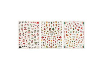 ALLYDREW 3 Sheets Jolly Animals Christmas Nail Art Christmas Nail Stickers