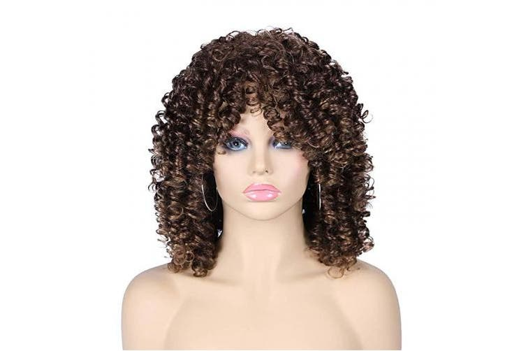 Quick Wig Short Curly Wigs Kinky Afro Wig Synthetic Full Wigs with Bangs Heat Resistant African American Hair Wigs for Black Women