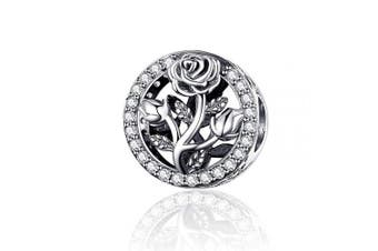 (rose flower) - CHENGMEN Anniversary Birthday Gifts Flower Rose Lucky Clover Dancing Lover Bead Charms 925 Sterling Silver Fits European Bracelets