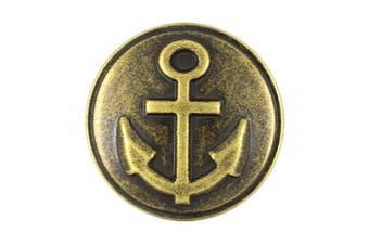 (Antique Brass) - Bezelry 12 Pieces Anchor Metal Shank Buttons 25mm (1 inch) (Antique Brass)