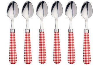 """KitchenCraft Coloured Gingham-Patterned Stainless Steel Teaspoons, 15.5 cm (6"""") - Red (Set of 6)"""
