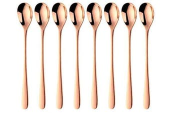 (Rose Gold) - Bisda Long-Handled Latte Spoon, Cocktail Stir Spoons, 18/10 Stainless Steel Coffee Spoons, Ice Teaspoon, Cocktail Bar Set of 8 (Rose Gold)