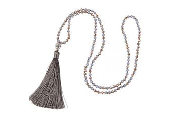 (Grey) - C.QUAN CHI Long Chain Tassel Necklace Handmade Buddha Crystal Beaded Pendant Bohemian Lucky Religious Beaded Necklace Women Statement Jewellery Women Gifts Girls