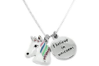 (Rainbow Enamel Unicorn Necklace (925 Plated)) - Mirabella A Little Fairy Dust' BellaMira Fairy Guardian Angel Wings - Sterling Silver or Plated - Girls Necklace Christening Communion Birthday Boxed