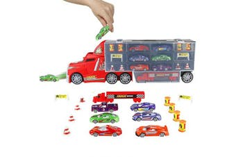 PL Transporter Truck Cars Vehicle Carrier Truck Toy Transport Carrycase with Mini Metal Cars for Kids Children Boys Girls 3 4 5 6 Years Old