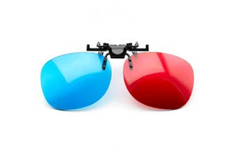 PRECORN 3D Glasses red blue Clip-On for Wearers of glasses Red/Cyan (3D-Anaglyph glasses) PC-Games