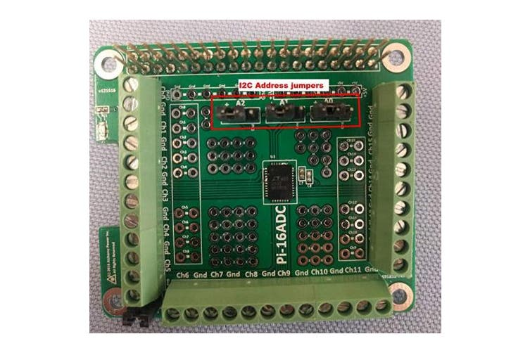 Alchemy Power Inc. Pi-16ADC 16 Channel, 16 Bit Analogue To Digital Converter (ADC) For Raspberry Pi. Price includes VAT.