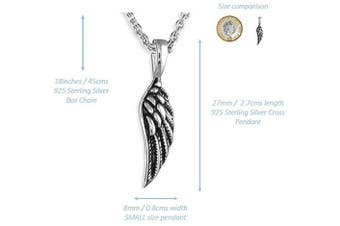 (Sterling Silver (Oxidised)) - 'My Little Guardian Angel' Sterling Silver or Rose Gold or Gold Plated Angel Wing Necklace Braceket Lapel Pin (As chosen) Christening Holy Communion Gift For Girls Boys Women Gift Boxed