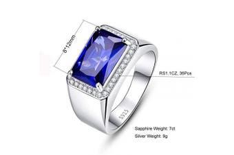 (U 1/2) - Bonlavie Men's 7.0ct Square Cut Created Blue Sapphire Engagement 925 Sterling Silver Ring Wedding Band