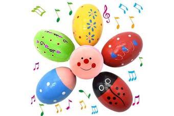 Anzmtos 6-Piece Set of Cute Pattern Percussion Music 7.6cm Wooden Maracas Egg Shaker Toy Spring Gift Set Bundle, Easter Gift, Basket Stuffers Filler