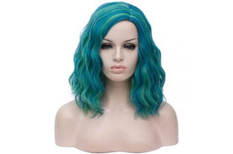 (Green mix Blue) - Alacos Fashion 35cm Short Curly Full Head Wig Heat Resistant Daily Dress Carnival Party Masquerade Anime Cosplay Wig +Wig Cap (Green mix Blue)