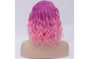(Purple Ombre Pink) - Alacos Fashion 35cm Short Curly Full Head Wig Heat Resistant Daily Dress Carnival Party Masquerade Anime Cosplay Wig +Wig Cap (Purple Ombre Pink)