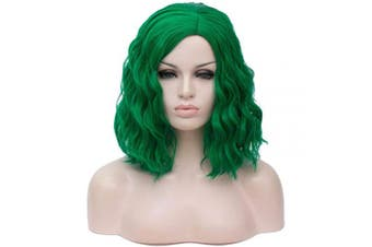 (Fresh Green) - Alacos Fashion 35cm Short Curly Full Head Wig Heat Resistant Daily Dress Carnival Party Masquerade Anime Cosplay Wig +Wig Cap (Fresh Green)
